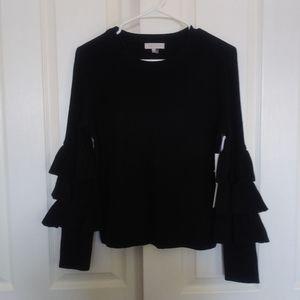 1. State Nomad Black Ruffle Sleeve Sweater